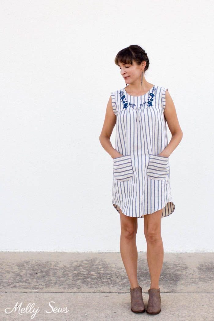 Embroidered Valetta Dress Hack | Pinterest | Nähen