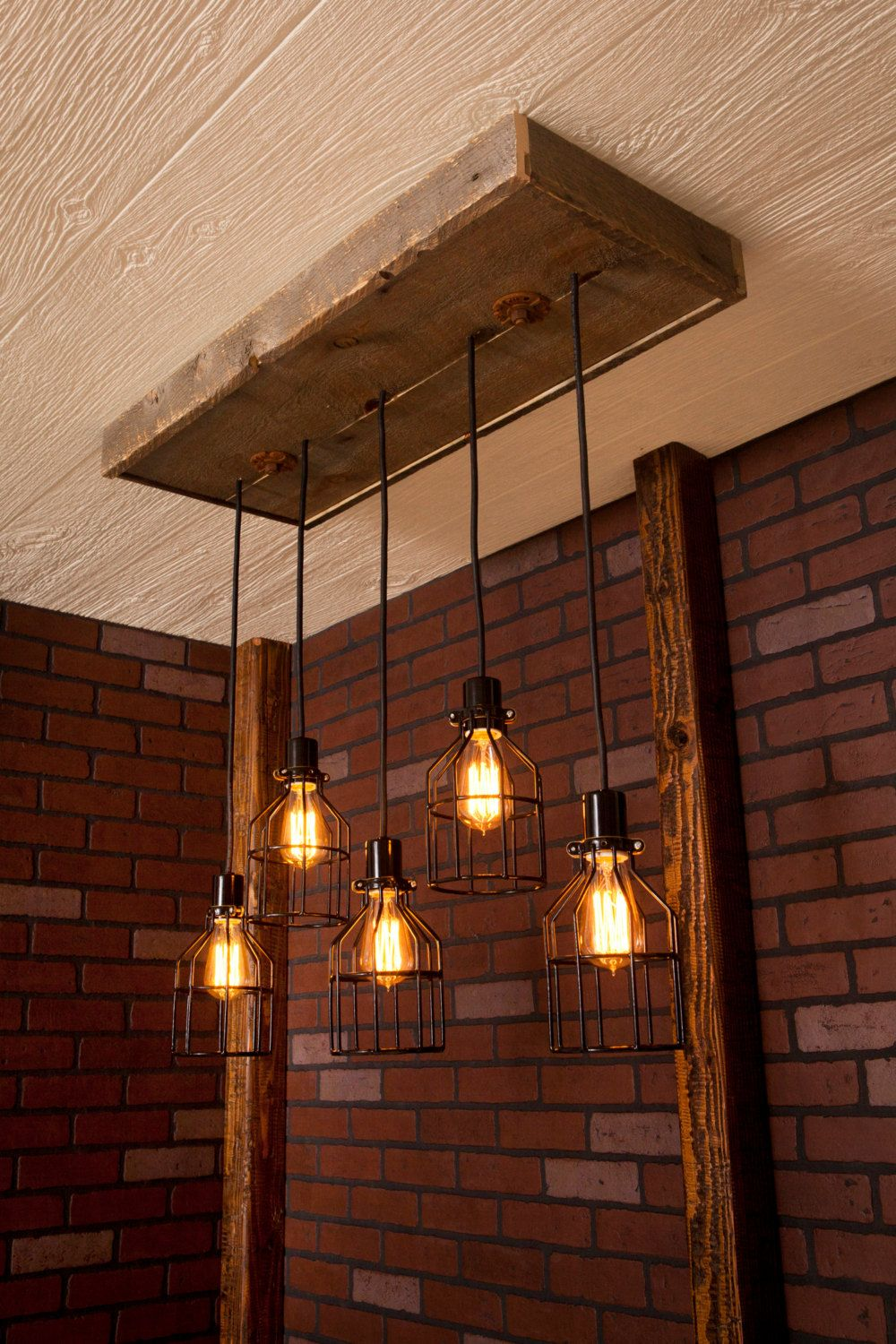 Industrial Lighting Cage Light Chandelier Black With Reclaimed Wood And 5 Pendants R 1434