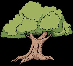 Publicdomainvectors Org Vector Graphics Of Wide Roots Oak Tree Ilustrasi Seni Menggambar Pohon