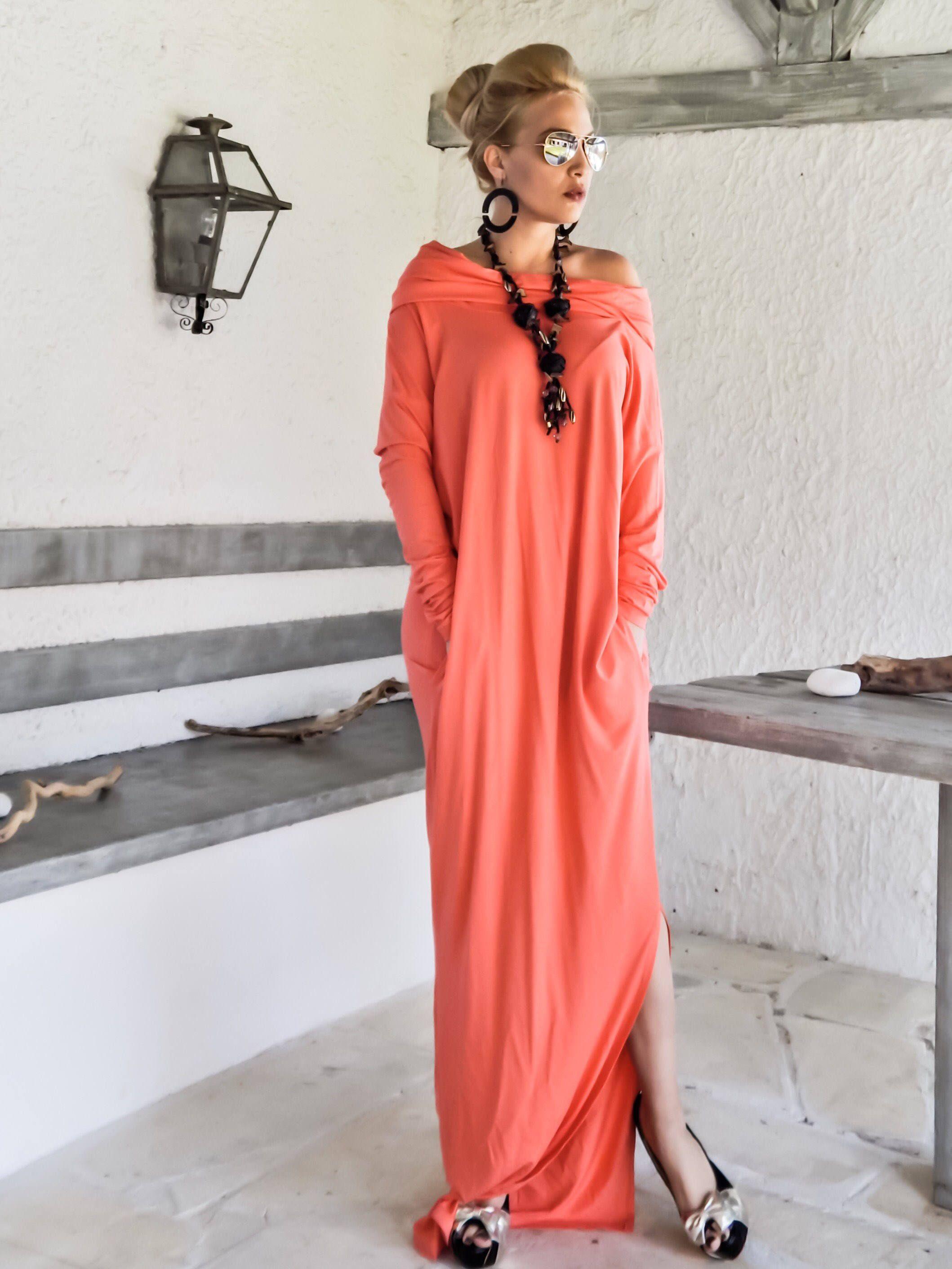 New Coral Maxi Dress Coral Dress Kaftan Long Sleeve Dress Turtleneck Plus Size Long Sleeve Turtleneck Dress Coral Maxi Dresses Long Sleeve Maxi Dress [ 2824 x 2118 Pixel ]