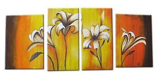 Cuadros modernos flores bastidor tripticos diptico secuencia for Cuadros minimalistas modernos