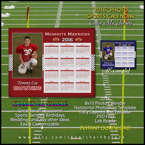 2017 Calendar Template for Sports  Great for Baseball  Football     2016 Calendar Template for Sports  Great for by Sharkbyte2k