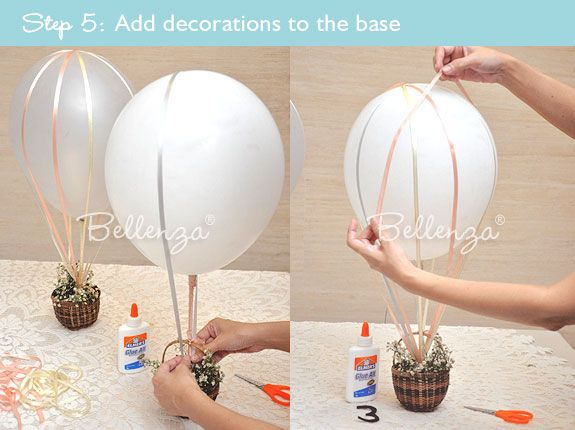 Hot air balloon centerpiece table number tutorial hot for Balloon decoration how to make