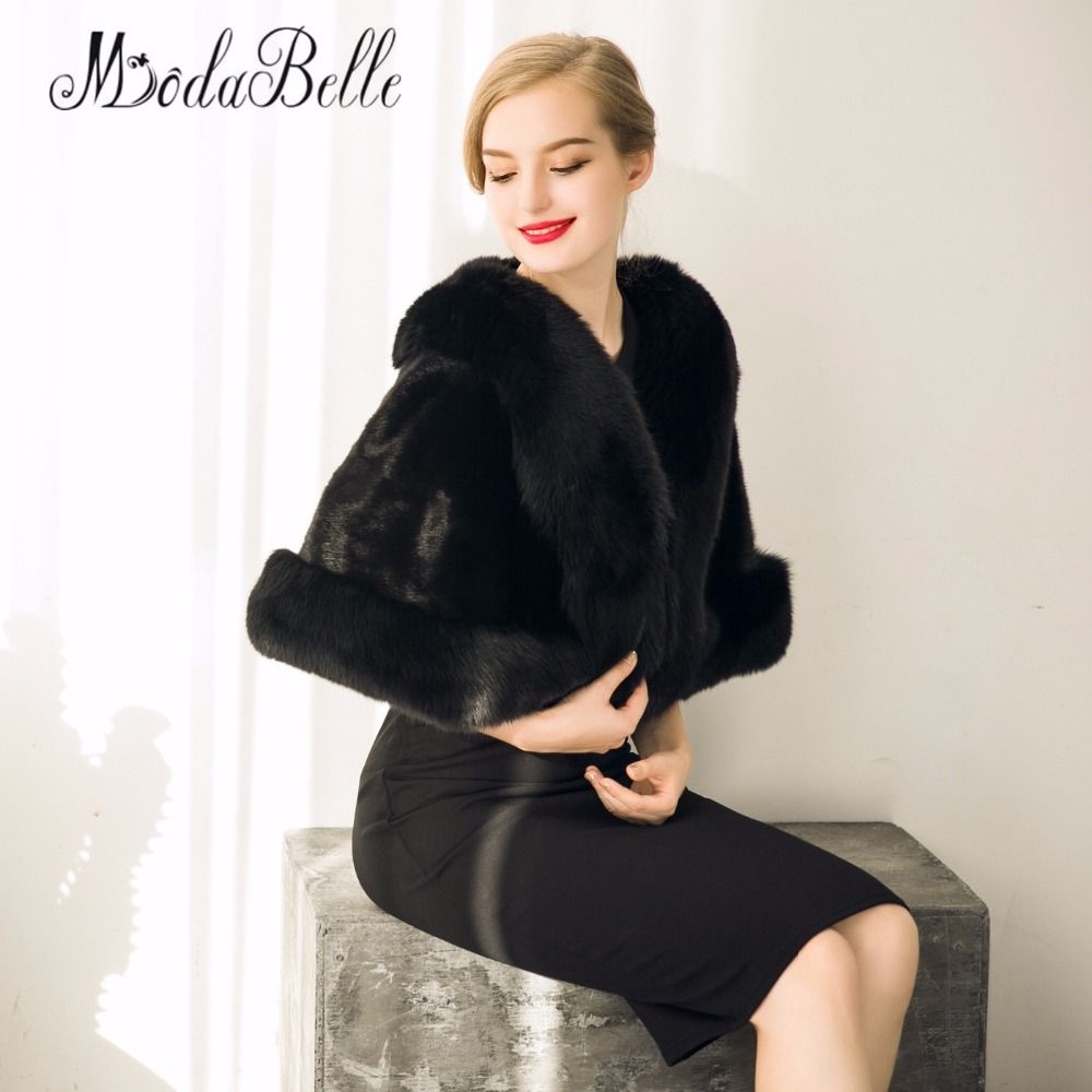 Click to Buy << Black Faux Fur Stole Shrug Winter Wedding Coat Women ...