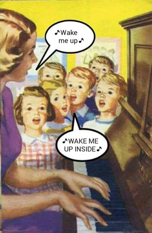 Wake Me Up Wake Me Up Inside Wake Me Up Inside Can T Wake Up Funny Good Morning Memes Morning Memes Humor