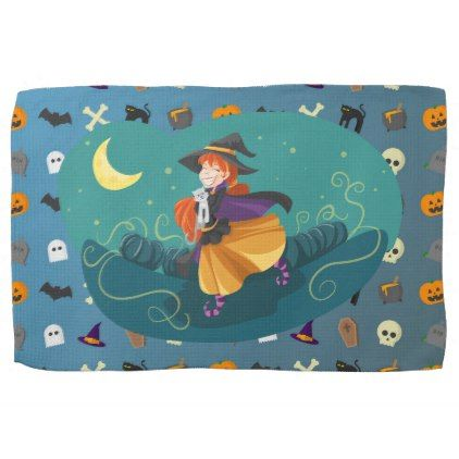Witch for child towel - halloween decor diy cyo personalize unique