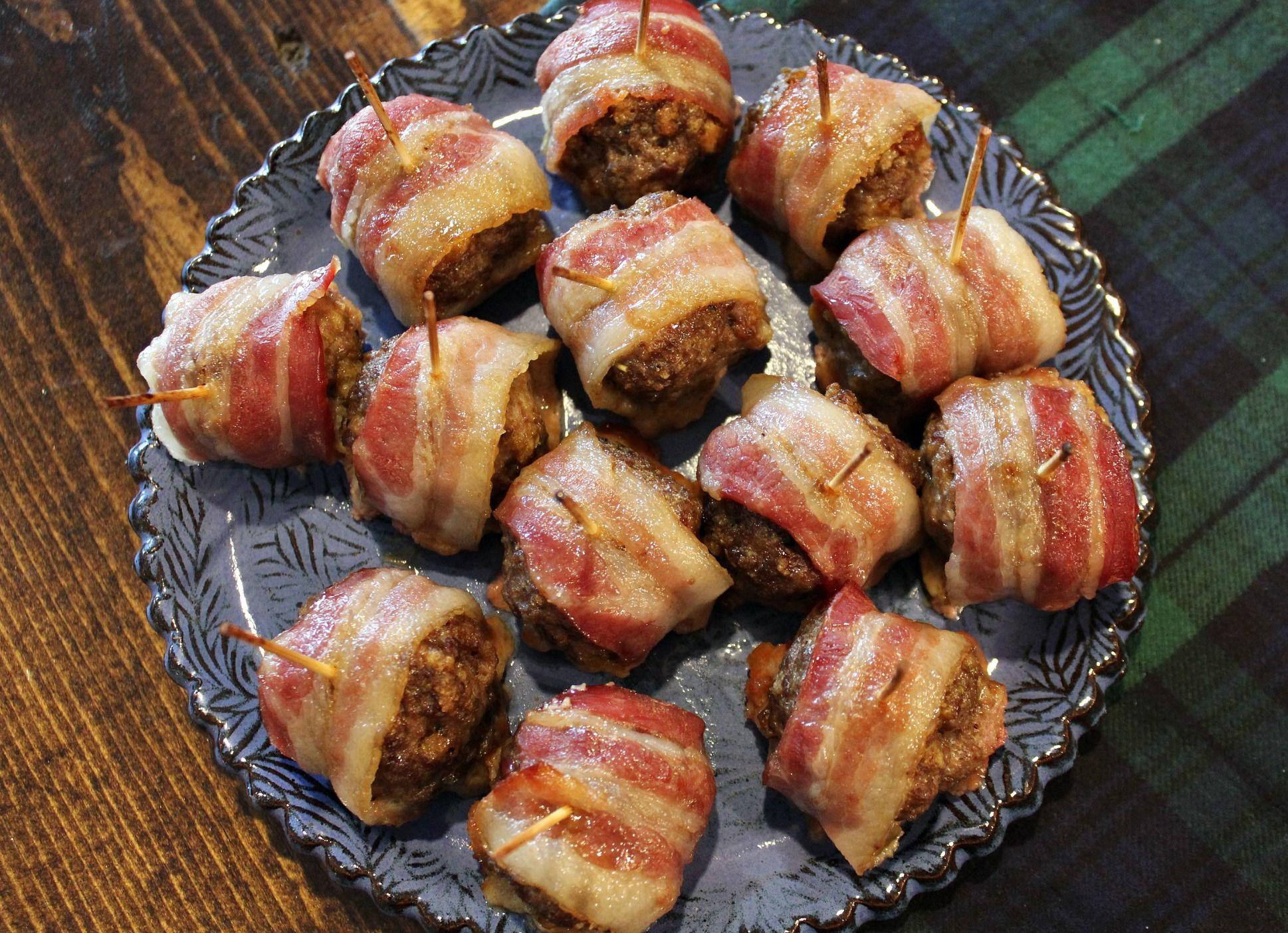 Sweet Glazed Bacon Wrapped Meatballs – Simply Taralynn