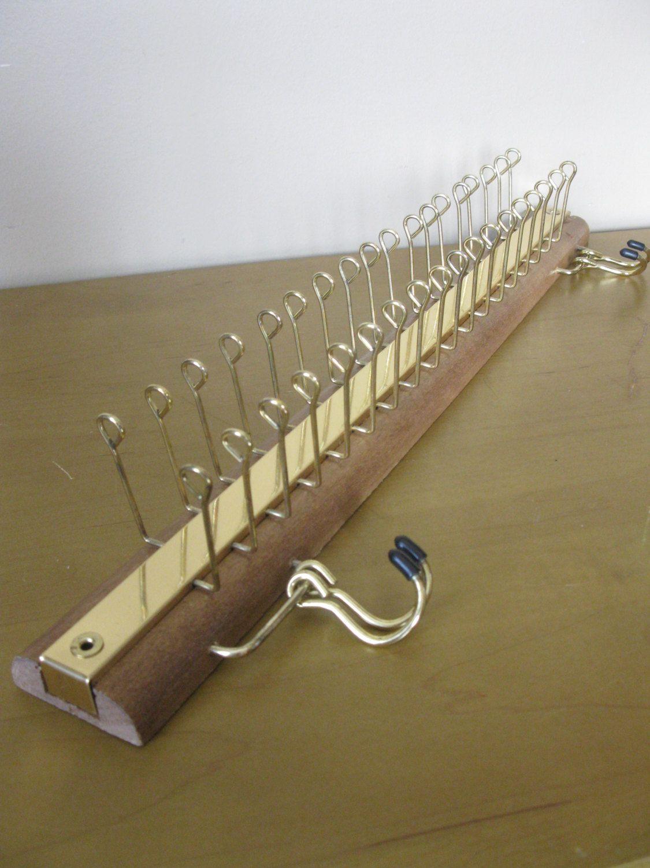 X Large Wood Metal Tie Rack Scarf Jewelry Belts Closet Organizer Holds Lots 36 Swivel Hooks 4 Belt Vintage By Oakiesclaptrap On