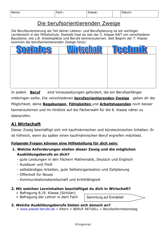 Berufsorientierende Zweige Facherwahl Mit Losung Unterrichtsmaterial Im Fach Arbeitslehre Berufsorientierung Berufe Mittelschule