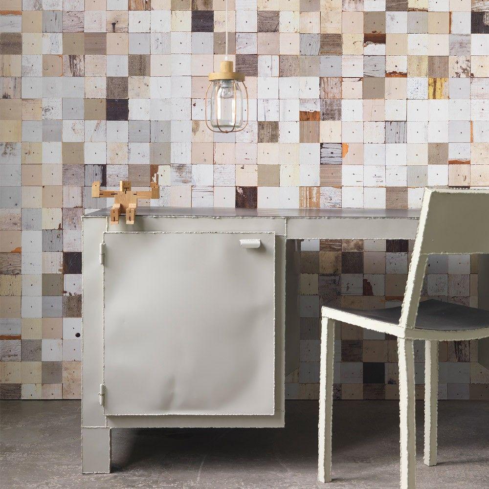 Wallpaper_Scrapwood effect wallpaper designed by Piet Hein Eek.