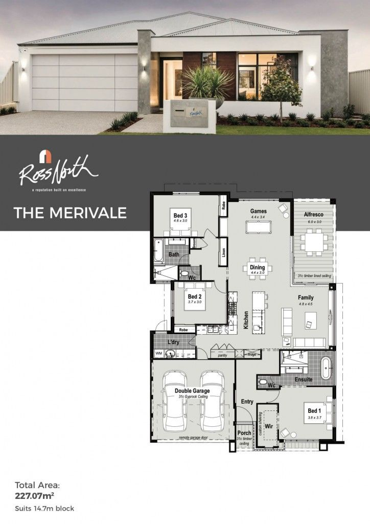 The Merivale One Storey Display Home Ross North Homes Perth Modern House Plans Family House Plans Modern Family House