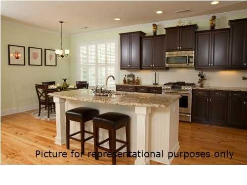 White Beadboard Island With Dark Cabinets Home Kitchens Kitchen