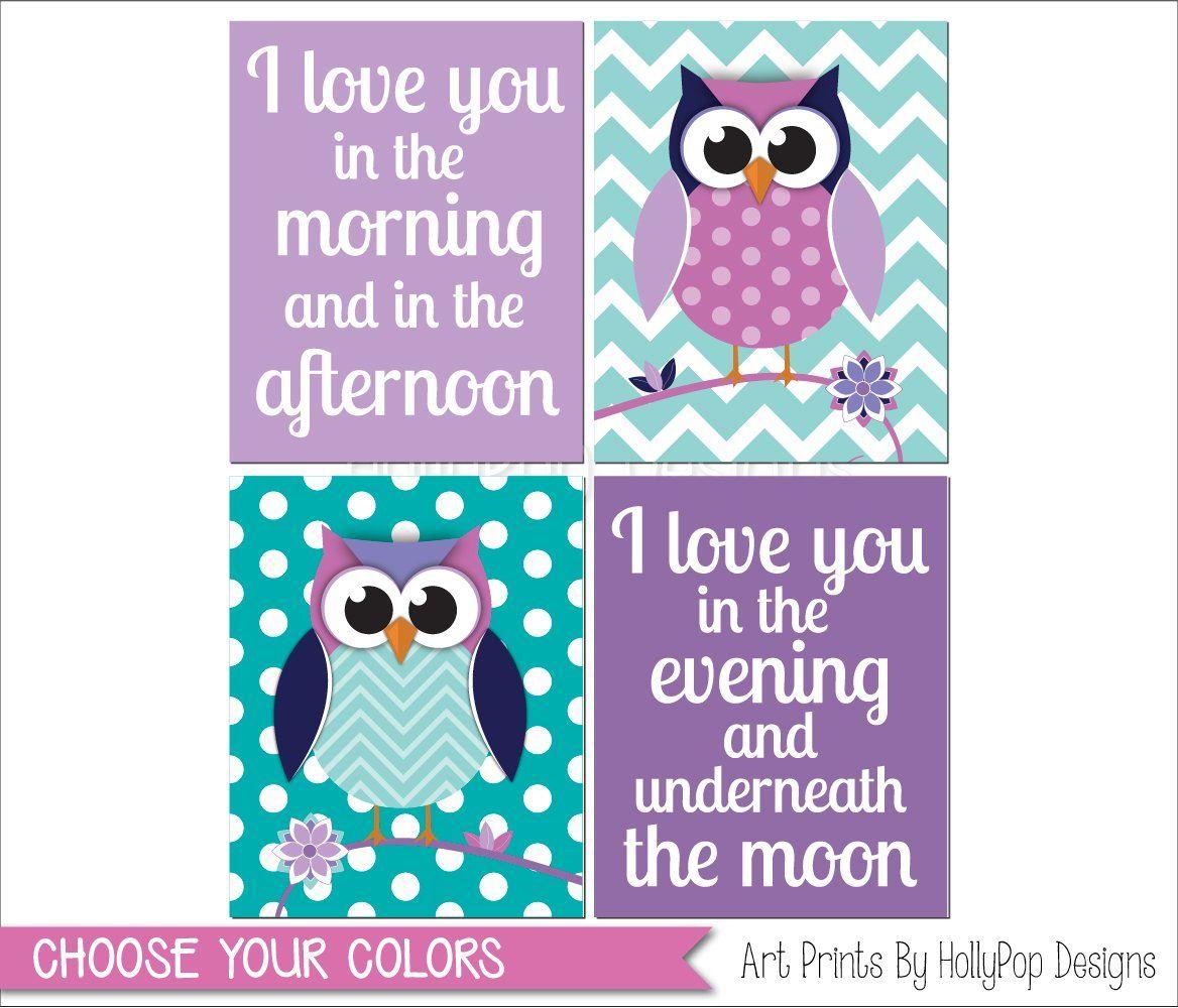 Owl baby shower decorations blue bathroom design amp decor owl - Baby Girl Nursery Art Purple Teal Nursery Art Prints Girls Room Decor Nursery Owl