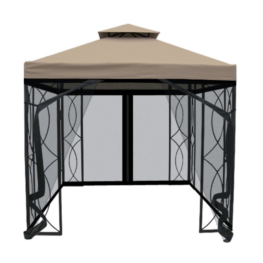 Garden Treasures 8 ft x 8 ft x 875 ft Powder Coated Steel Gazebo