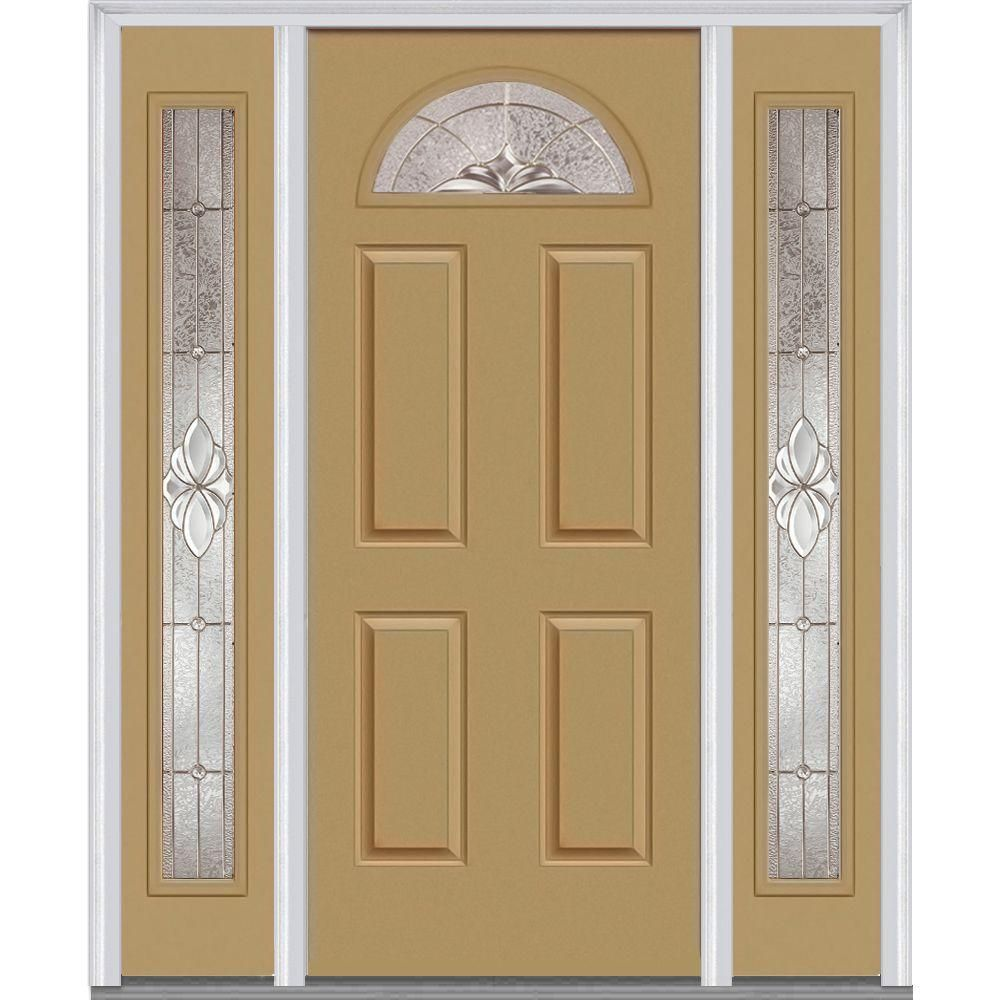 Mmi Door 64 5 In X 81 75 In Heirlooms Left Hand 1 4 Lite Decorative Painted Fiberglass Smooth Prehung Front Door With Sidelites Z004094l Entry Door With Sidelights Entry Doors Doors