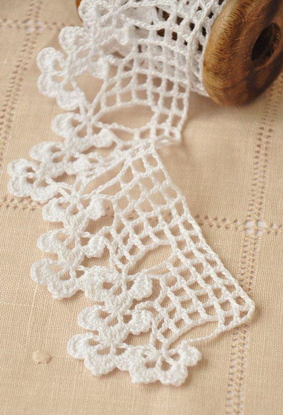 Mano crochet encaje de corte, decoración de algodón, blanca, ribete ...