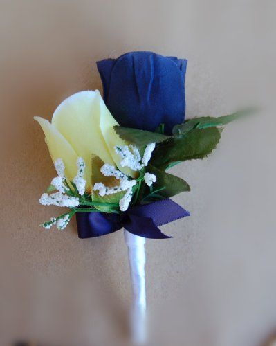 boutonniere navy blue rose with yellow rose boutonniere