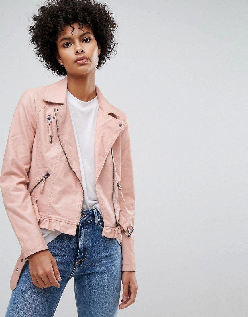 897008edc Vero Moda Leather Look Belted Biker Jacket - Pink | Fashion in 2019 ...