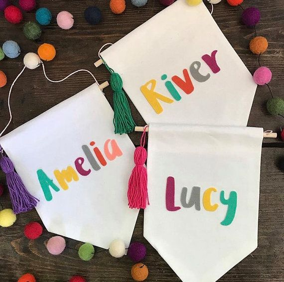 Banners For Bedrooms: Personalised Name Or Word Small Wall Banner, Nursery Kids