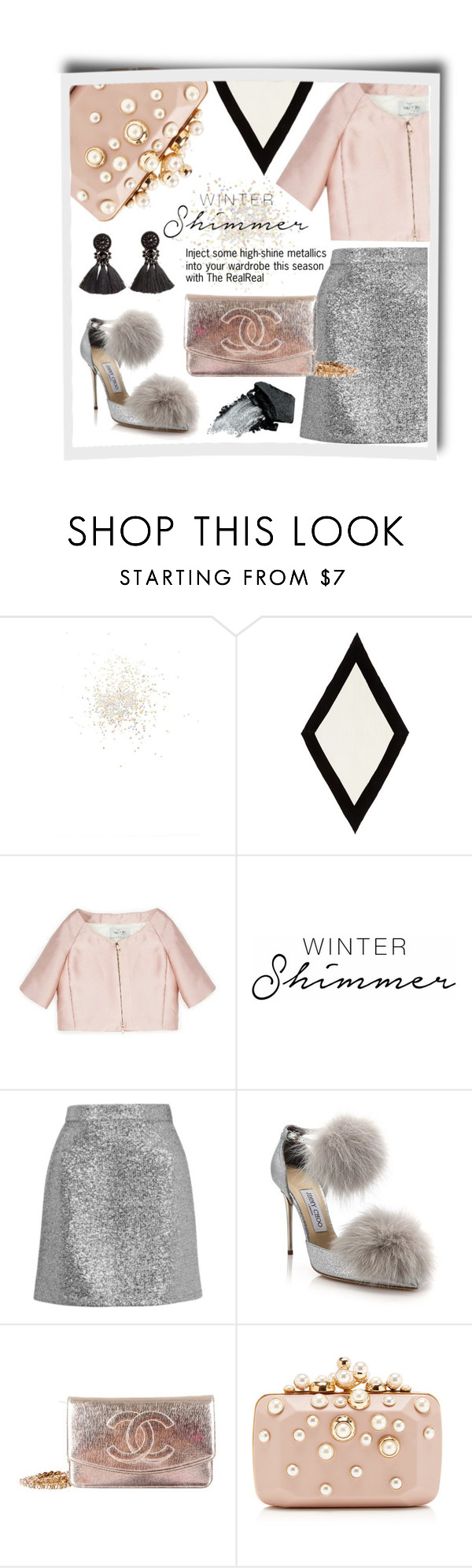 """""""Holiday Sparkle With The RealReal: Winter Pastels & Metallics"""" by theabstractlife ❤ liked on Polyvore featuring Topshop, Valentino, Jimmy Choo, Chanel, Elie Saab and Gorgeous Cosmetics"""