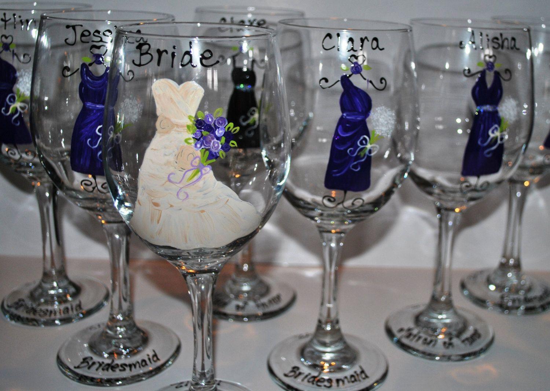Hand Painted Blue Navy Bridesmaid Wedding Wine Glasses Wedding Favors Wine Glass Wedding Favors Wedding Wine Glasses Wedding Gifts Painting