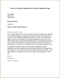 Letter To Criticize An Employee For Excessive Telephone Usage