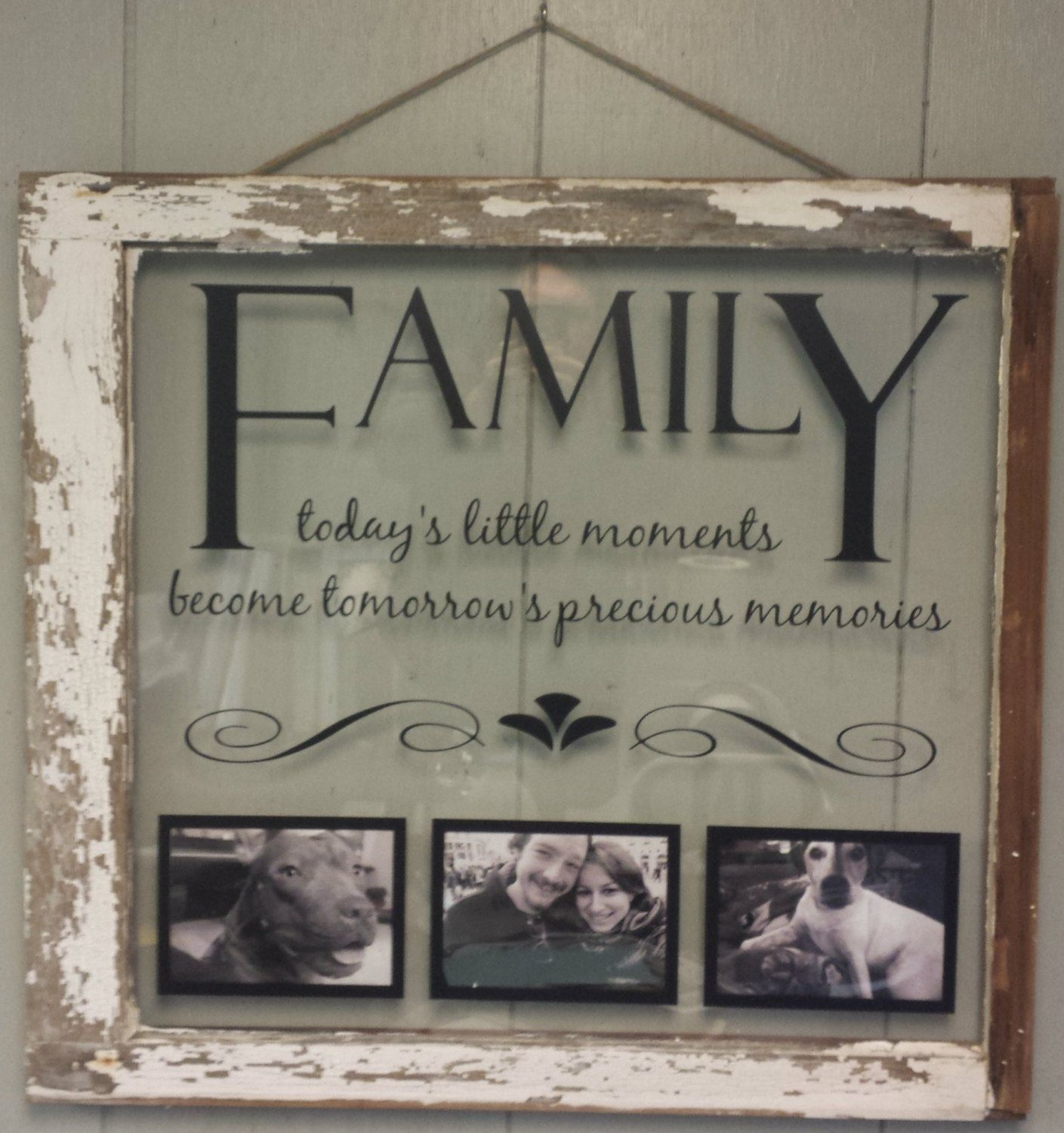 Vintage Window Single Pane Picture Frames Family Quote | Cuadros ...