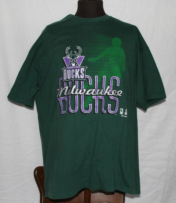 new arrival 83494 b282a Vintage Milwaukee Bucks T Shirt by Hames by ...