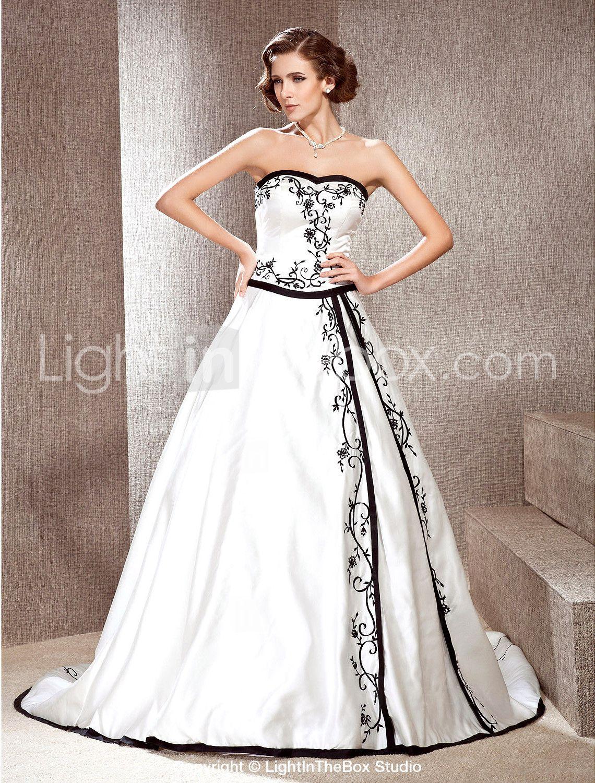 e31734b682e A-line Sweetheart Court Train Satin Wedding Dress with Split Front - US   199.99
