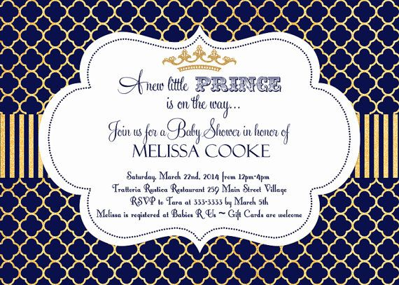 little prince baby shower invitation in navy by