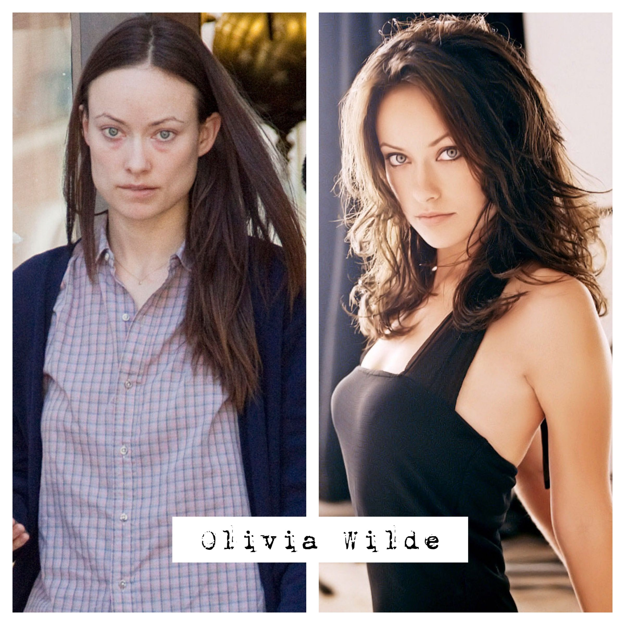 Olivia Wilde no makeup before and after. | Celebs without