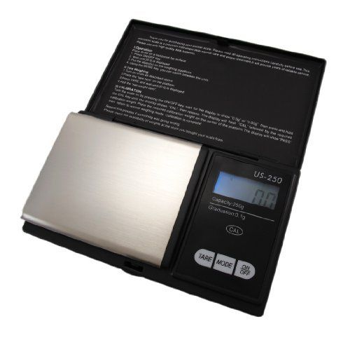 250 Gram X 0.1g Digital Pocket Scale Gold Weighing by US Balance. $21.99. 6 Weighing Modes; Super Compact; Backlit. This BRAND NEW digital pocket scale manufactured by US Balance features a blue backlight and easy 3 button controls.  It comes with a 5 YEAR consumer warranty, Included in the box with the scale are the USB cable for recharging and an instruction manual.Blue BacklightSix Measuring Units:250 Gram Capacity x 0.11250 Carat Capacity x 0.53,858 Grain Capacity x 28.8...