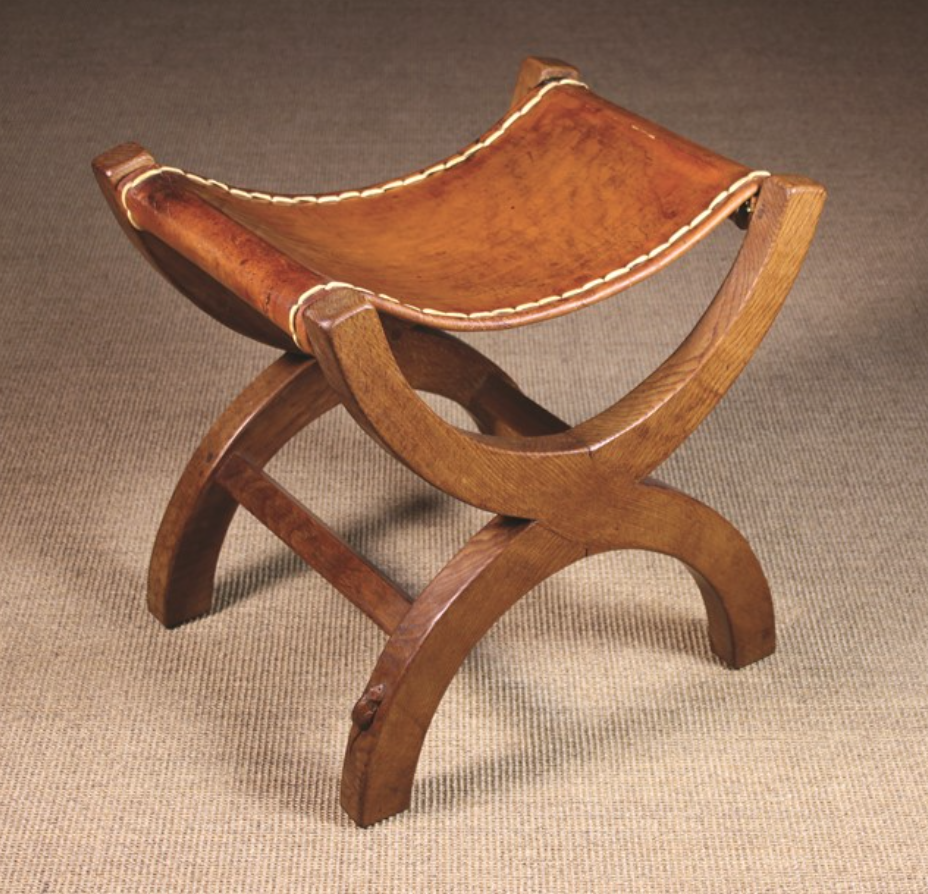 Peachy Lot Number 73 An Oak Mouseman Stool The Rectangular Tan Machost Co Dining Chair Design Ideas Machostcouk