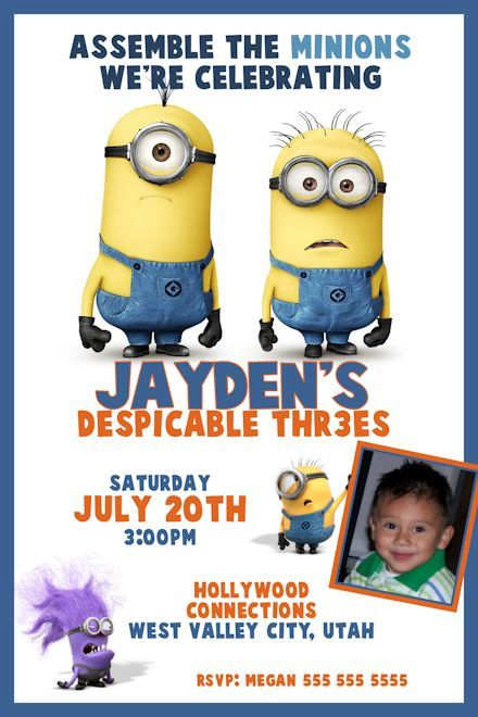 Despicable Me 2 Birthday Invitation Printable Digital File