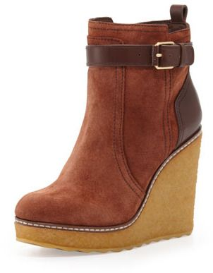 6aa1e66c5 Tory Burch Remy Suede Shearling-Lined Wedge Boot