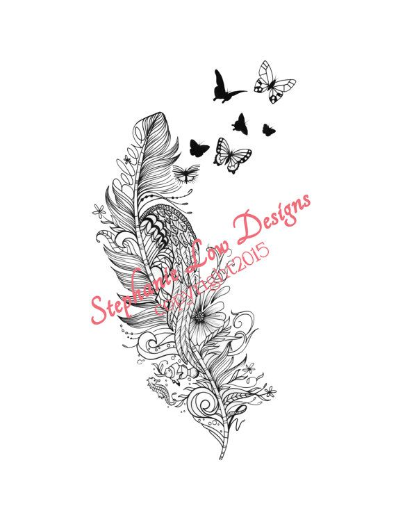 Custom Tattoo Illustration For Rachel Bold Angel Wing And An