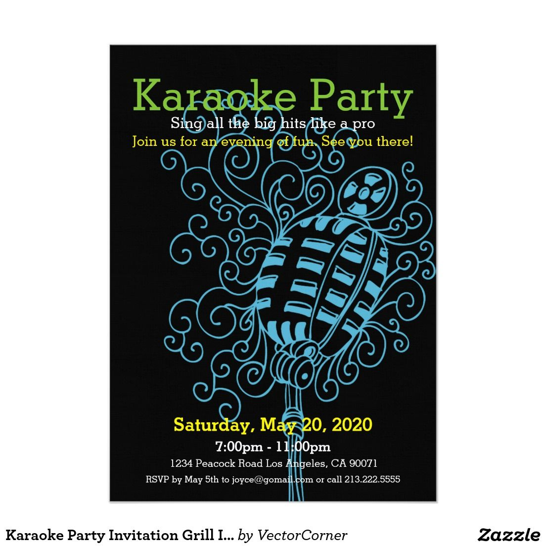 Karaoke Party Invitation Grill Icon | Invitation Cards | Pinterest ...