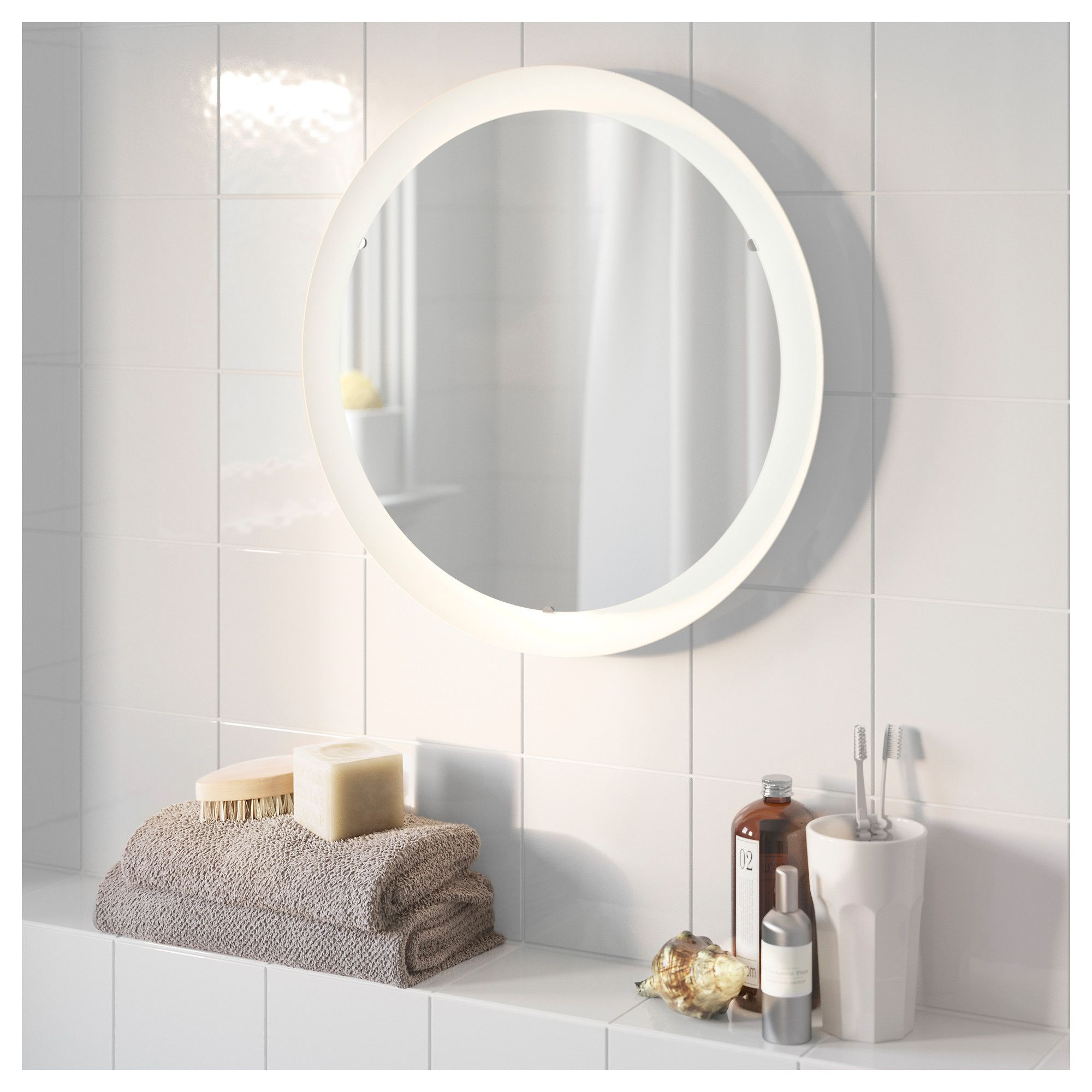STORJORM Mirror with integrated lighting White IKEA | Bathroom ...