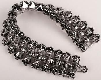 Mens Skeleton Stainless Steel Heavy Duty Biker Jewelry Stainless