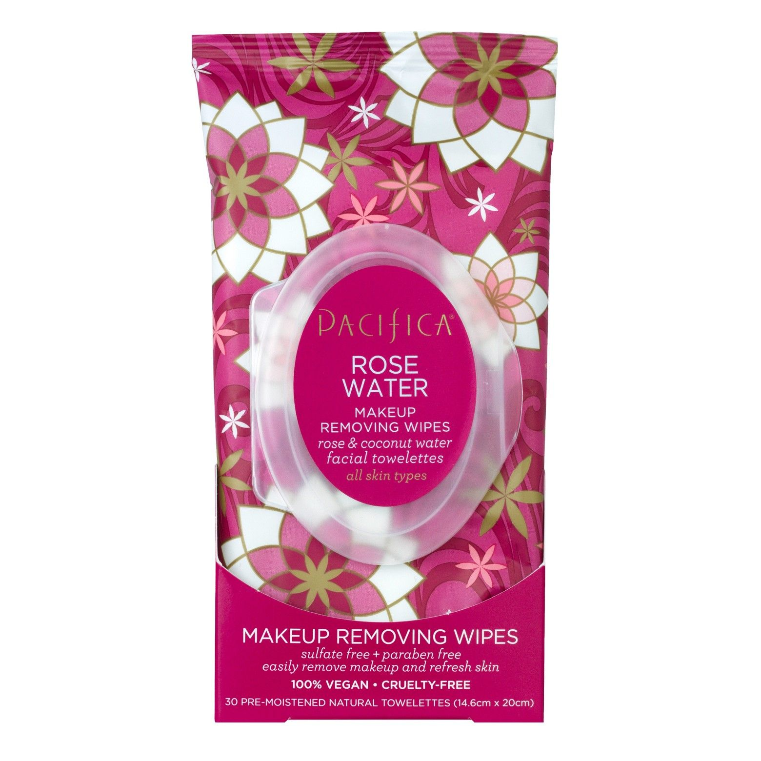 Pacifica Rose Flower Cleansing Wipes 30ct Target
