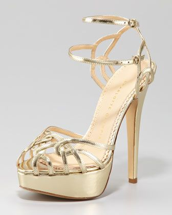 Ursula Metallic Strappy Platform Sandal by Charlotte Olympia at Neiman Marcus.