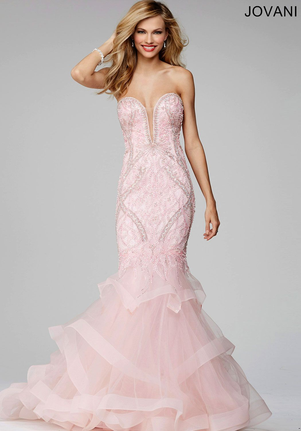 Beautiful strapless mermaid dress features a beaded bodice and ...