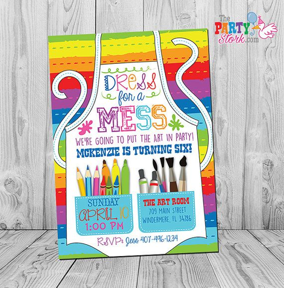 printable art paint party invitations colorful kids birthday invitation by the party stork invitation - Printable Art For Kids