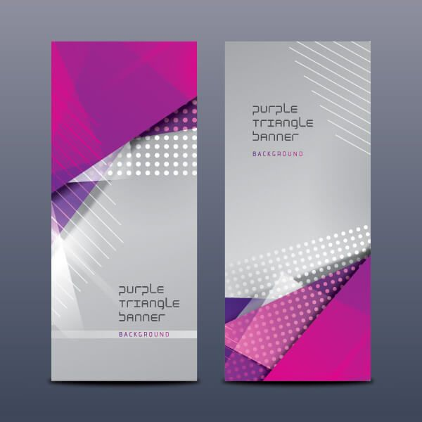 purple triangle banners vector template