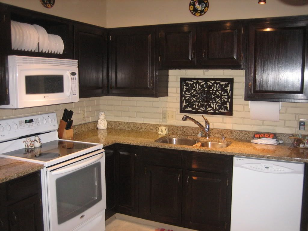 Java colored gel stain over orange 80u0027s oak cabinets. Cabinets  BestkitchencabinetsStaining ...