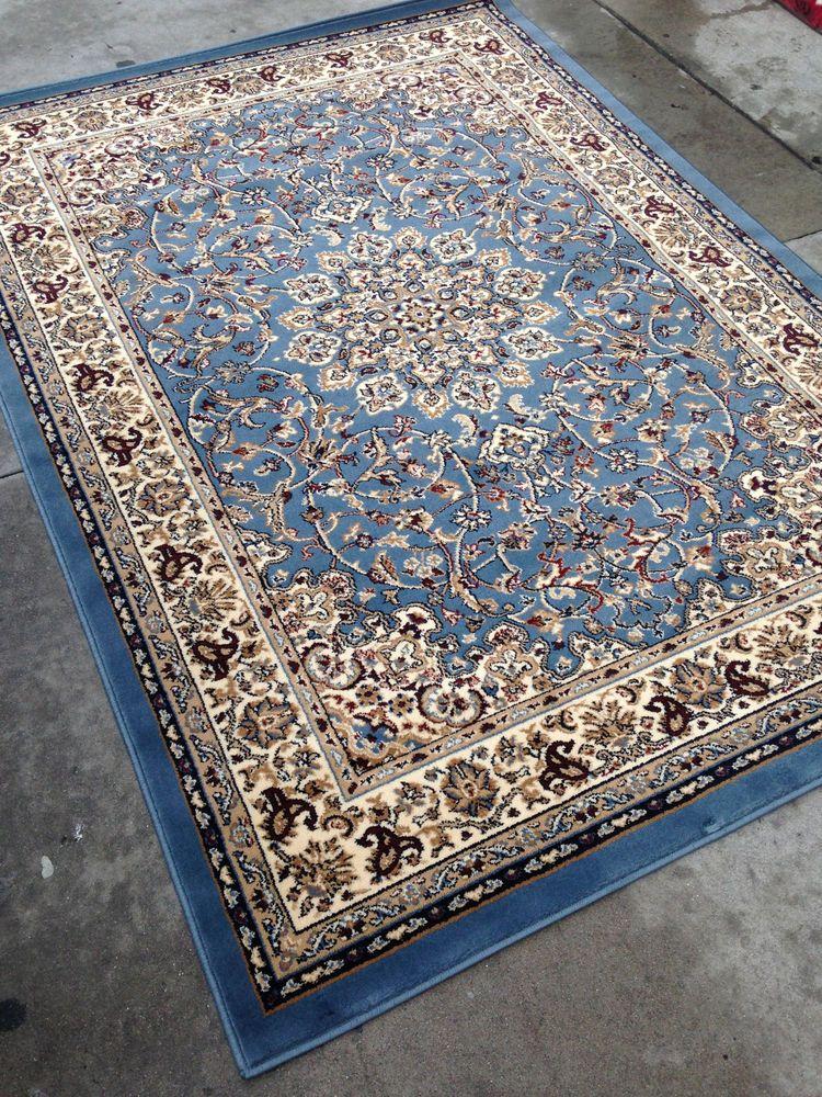 Light Blue Persian Style Oriental Area Rug 8x10 8 X 10