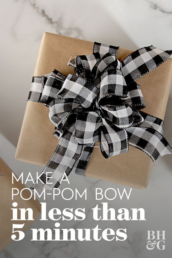 How to Make a Pom-Pom Bow in Less Than 5 Minutes | Christmas bows, Gift bows, Gifts #howtomakeabowwithribbon