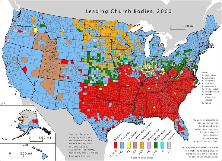Leading Church Bodies Baptist Red Catholic Blue - Red blue map of us by county