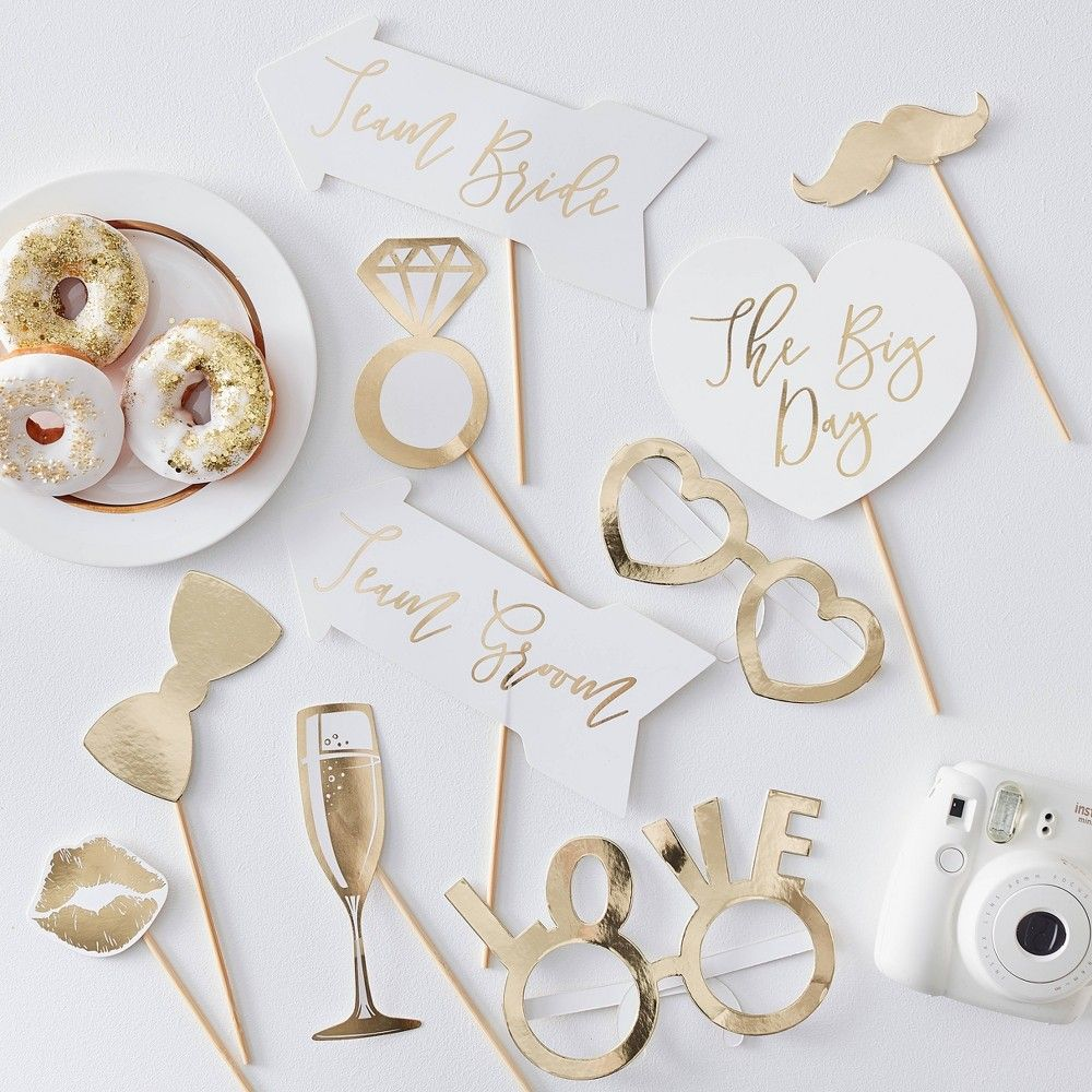 Photo Booth Wedding Props White/Gold