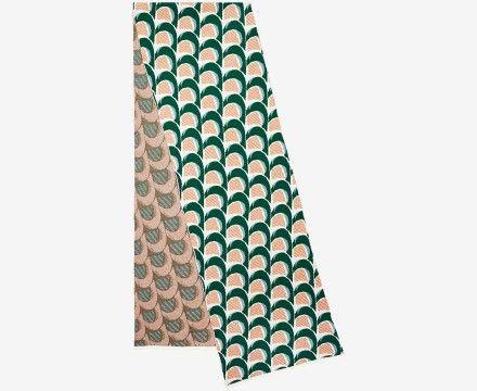 green and orange wave jacquard scarf